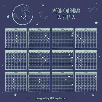 Calendário lunar bonito com estrelas
