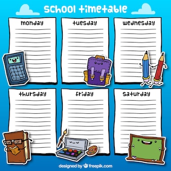 Calendário mão escola desenhado com elementos agradáveis