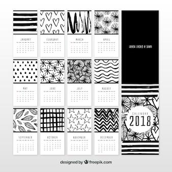 Calendário preto e branco de 2018
