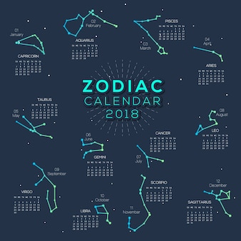 Calendário Zodiac 2018 design inteligente