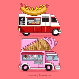Caminhões de alimentos modernos com estilo desenhado a mão