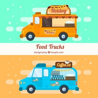 Caminhões de fast food e comida