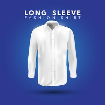 Camisa de manga comprida branca no fundo azul