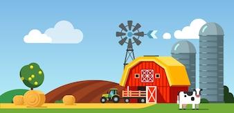 Campo de fazenda e cenário de prado, vaca e trator