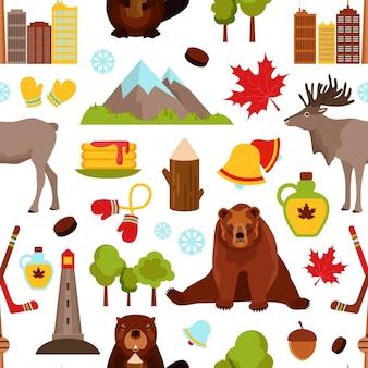 Canadá, colorido, seamless, Padrão, hockey, bordo, xarope, castor, vetorial, Ilustração