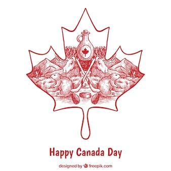 Canadá, dia, fundo, mão-drawn, tradicional, elementos