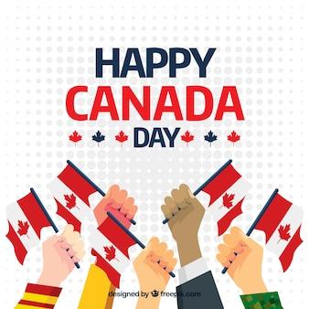 Canadá, dia, fundo, mãos, bandeiras