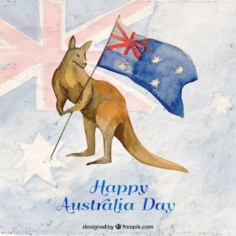 Canguru com uma bandeira no fundo Feliz Dia da Austrália