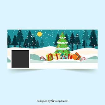 Capa de facebook de árvore de natal