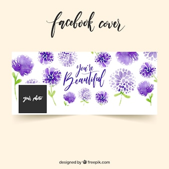 Capa de Faebook de flores de aguarela roxa