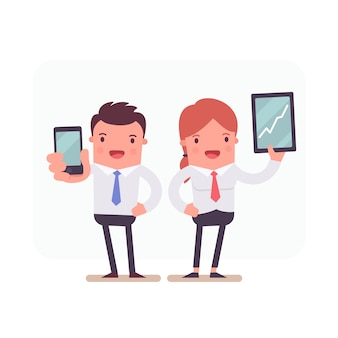 Caracteres comerciais que prendem smartphone e tablet