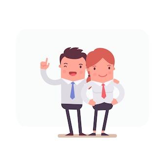 Caracteres de negócios trabalhando juntos