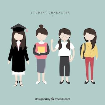 Caracteres estudante do sexo feminino