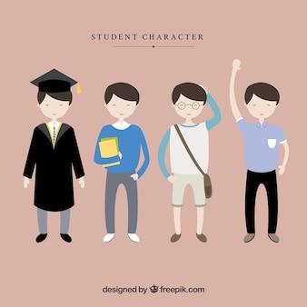 Caracteres estudante do sexo masculino