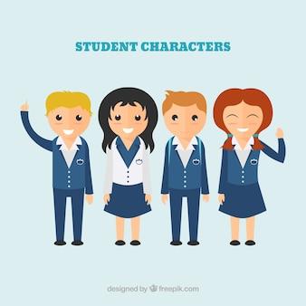 Caracteres estudante Ilustração