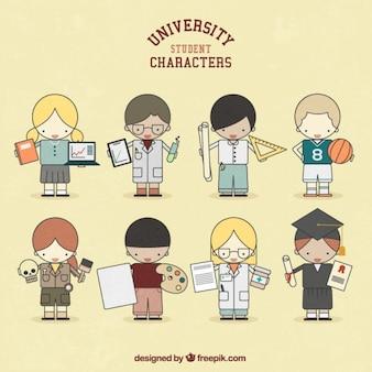 Caracteres estudantes universitários