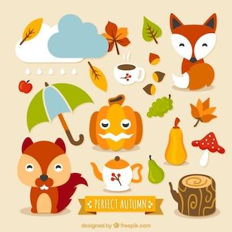 Caracteres outono encantadores e elementos