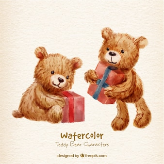 Caracteres urso de peluche com presentes Watercolor