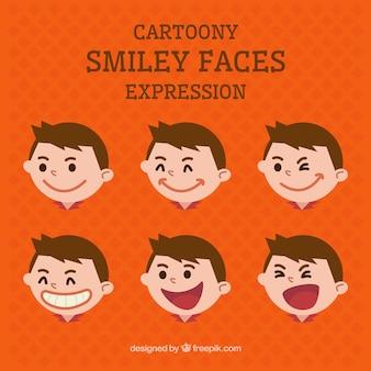 Caras do smiley dos desenhos animados