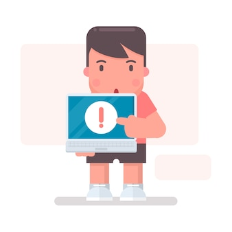Caráter apontando para a tela do laptop
