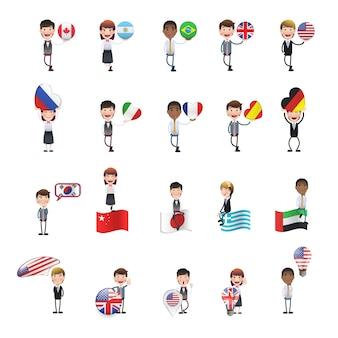 Caráter com coleção de bandeiras