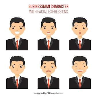 Caráter do homem de negócios com seis expressões faciais