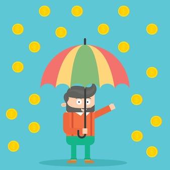 Caráter do homem de negócios que usa o guarda-chuva no projeto do vetor dos desenhos animados da chuva do dinheiro