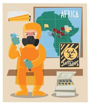 Caráter químico e vetor de ilustração de tubos