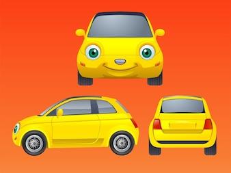 caráter sorriso dos desenhos animados do vetor do carro