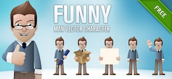 caráter vetor homem engraçado