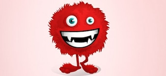 caráter vetor vermelho fofo monstro
