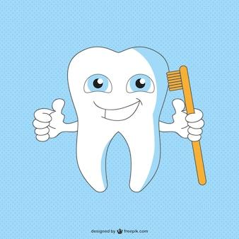 Caricatura dente saudável e feliz