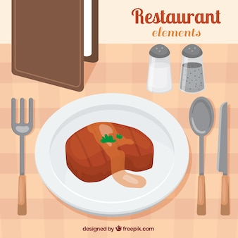 Carne deliciosa em um restaurante