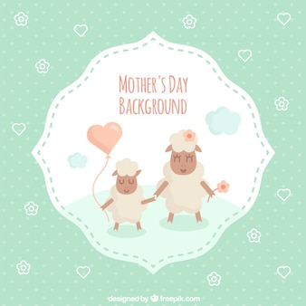 Carneiros cartão bonito do dia das mães