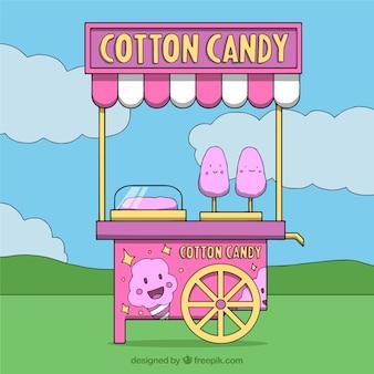 Carrinho de algodão de algodão rosa no parque