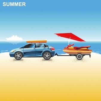 Carro azul na praia