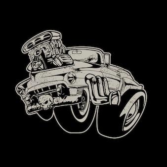 Carro desportivo com fundo motor grande