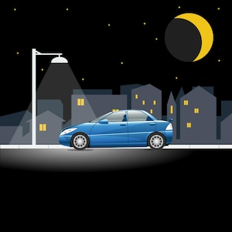 Carro em cena noturna