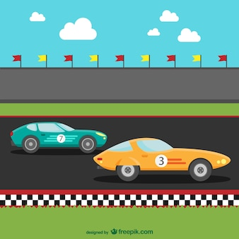 Carros de corrida dos desenhos animados