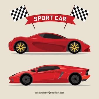 Carros desportivos vermelhos