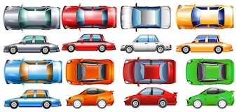 Carros particulares em muitas ilustrações de cores