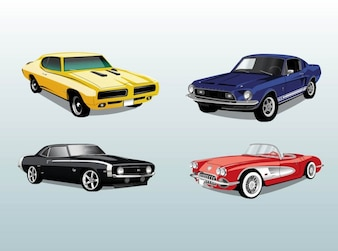 Carros retros automóveis montar vector