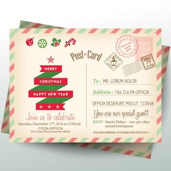 Carta cartão do Natal do vintage