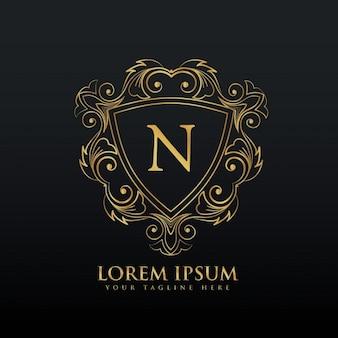 Carta de design de logotipo N com decoração floreio