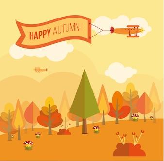 Cartão agradável com uma paisagem outonal