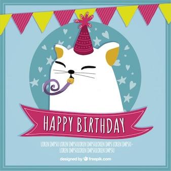 Cartão agradável do gato do aniversário