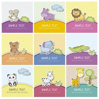 Cartão animais bonitos
