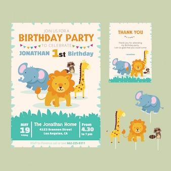 Cartão animal bonito do convite do tema do aniversário