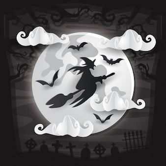 Cartão assustador do dia das bruxas do estilo da arte do papel