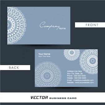 Cartão azul com mandala branca